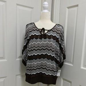Women's Chevron Dolman Sleeve Sweater - 1X